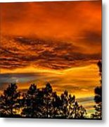 Mountain Wave Cloud Sunset With Pines Metal Print
