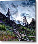 Mountain Wooden Fence  Metal Print