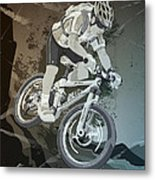 Mountainbike Sports Action Grunge Monochrome Metal Print