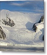 Mountains And Glacier At Sunset Metal Print