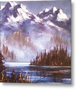 Mountains And Inlet Metal Print