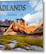 Mountains And Sky In The Badlands National Park  Metal Print