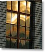 Mountains And Sun In Window Metal Print