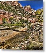 Mountains And Virgin River - Zion Metal Print