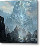 Mountains  Castles  Fantasy   Artwork   Metal Print