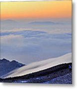 Mountains Clouds At Sunset Metal Print