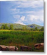 Mountains Corn And Blue Skies Metal Print