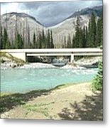 Mountains Green River Under Bridge Metal Print