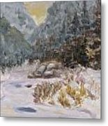 Mountains In The Snow Metal Print