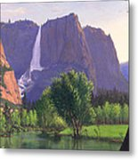 Mountains Waterfall Stream Western Mountain Landscape Oil Painting Metal Print
