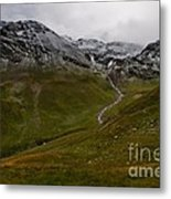Mountainscape With Snow Metal Print