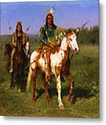 Mounted Indians Carrying Spears Metal Print
