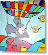 Mouse In Balloon Metal Print
