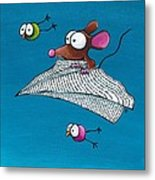 Mouse In His Paper Aeroplane Metal Print