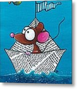 Mouse In His Paper Boat Metal Print
