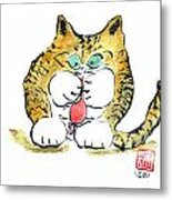 Mouse Toy And Tiger Kitten Metal Print