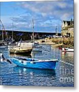 Mousehole Harbour Morning Metal Print
