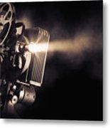 Movie Projector On A Dark Background Metal Print