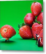 Moving Strawberries To Depict Friction Food Physics Metal Print