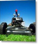 Mowing The Lawn Metal Print