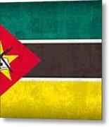 Mozambique Flag Vintage Distressed Finish Metal Print