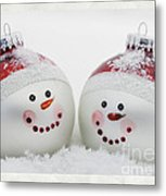 Mr. And Mrs. Snowman Metal Print