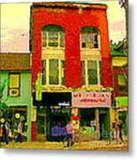 Mr Jordan Mediterranean Food Cafe Cabbagetown Restaurants Toronto Street Scene Paintings C Spandau Metal Print by Carole Spandau