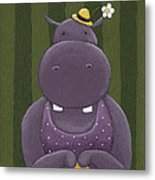 Mrs. Hippo Metal Print by Christy Beckwith