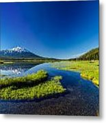 Mt. Bachelor Reflection And Forest Metal Print
