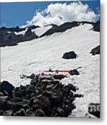 Mt. Bachelor Summit With Skis Metal Print