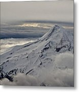Mt. Hood Between Clouds Metal Print