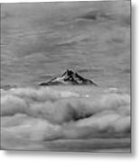 105355-mt. Jefferson Above The Clouds,or,bw Metal Print