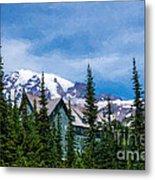 Mt Rainier And Paradise Inn Metal Print
