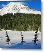 Mt Rainier And Three Trees Metal Print