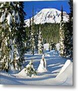 Mt Rainier At Reflection Lakes In Winter Metal Print