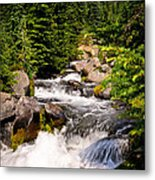 Mt. Rainier Waterfall Metal Print