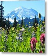 Mt. Rainier Wildflowers Metal Print