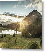 Mt.rainier In Sunset Metal Print