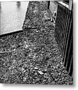 mud banks of the river thames and reinforced pilings at southwark London England UK Metal Print