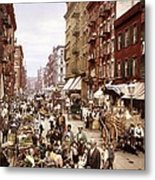 Mulberry Street, New York, Circa 1900 Metal Print