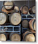 Multible Wooden French Winebarrels On Metal Print