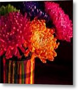 Multicolored Chrysanthemums In Paint Can On Chest Of Drawers Int Metal Print