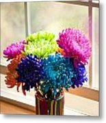 Multicolored Chrysanthemums In Paint Can On Window Sill Metal Print