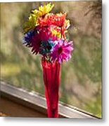 Multicolored Daisies On Window Sill Metal Print