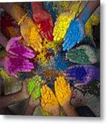 Multicoloured Hands Metal Print