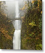 Multnomah Autumn Mist Metal Print by Mike  Dawson