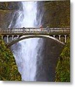 Multnomah Falls Bridge In Oregon Metal Print