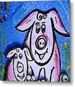 Mummy And Baby Pig  Metal Print