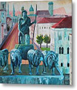Munich Leopold Str. With Bavaria And Alps Metal Print