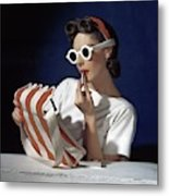 Muriel Maxel Applying Lipstick Metal Print
